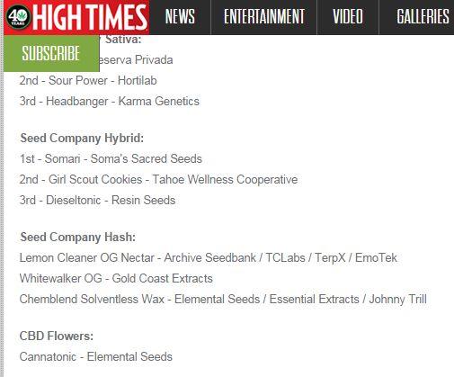 26th Cannabis Cup Winner List